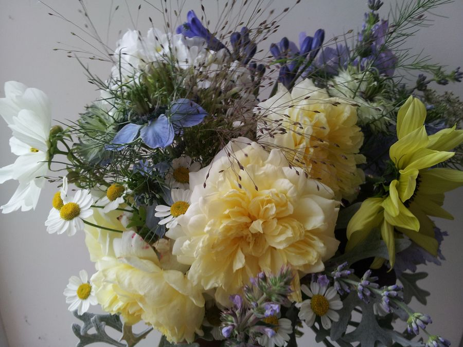 Classic white, yellow and blue summer bridal bouquet (With
