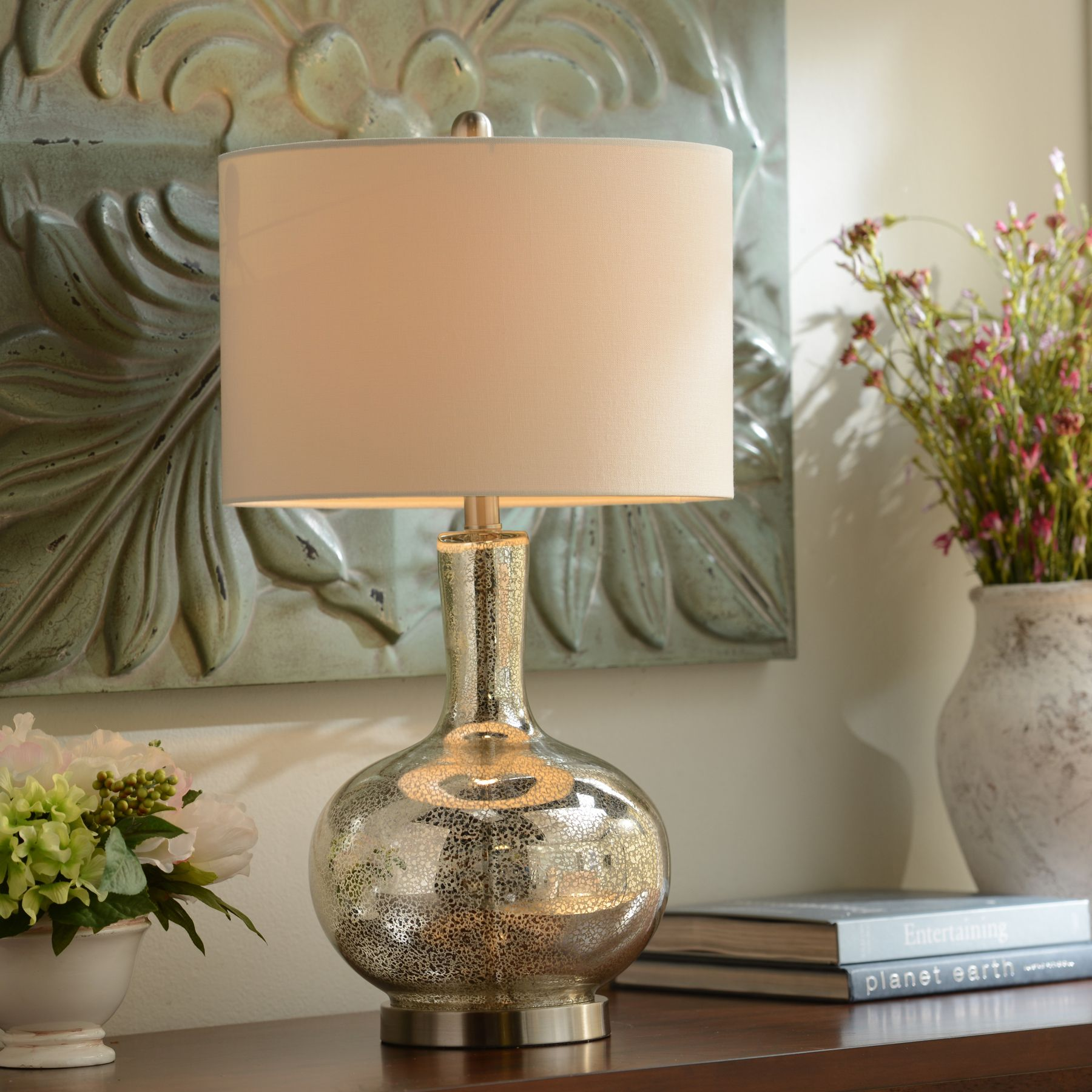 Step up your style with mercury glass lamps Available in both gold
