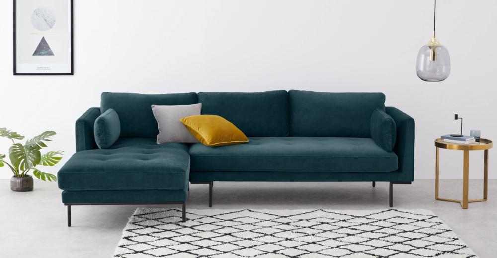 Harlow Left Hand Facing Chaise End Corner Sofa Steel Blue Velvet Made Com Velvet Sofa Living Room Teal Living Room Decor Corner Sofa
