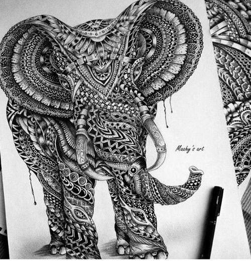 Image via We Heart It #amazing #blackandwithe #draw #elefant #paint