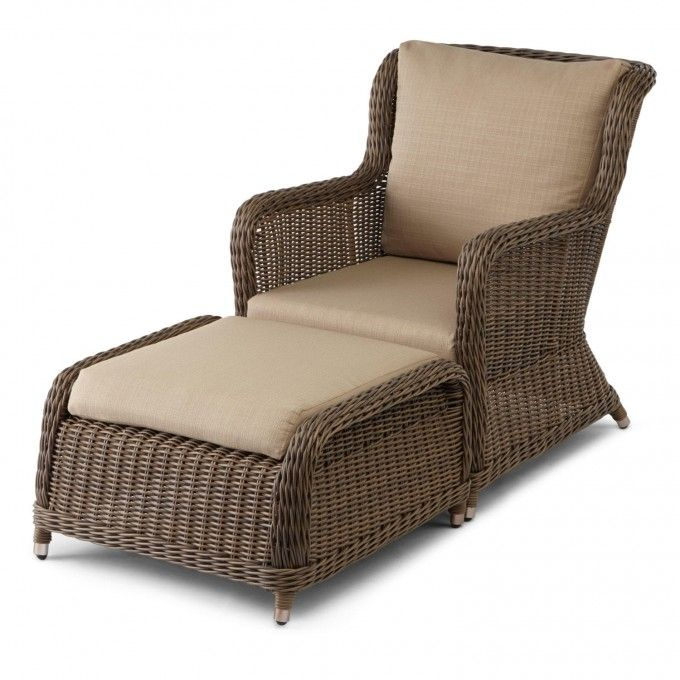 Elegant Alcee Resin Wicker Outdoor Chair And Ottoman Set