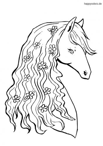 pferdekopf mit blumen ausmalbild  ausmalbilder pferde zum