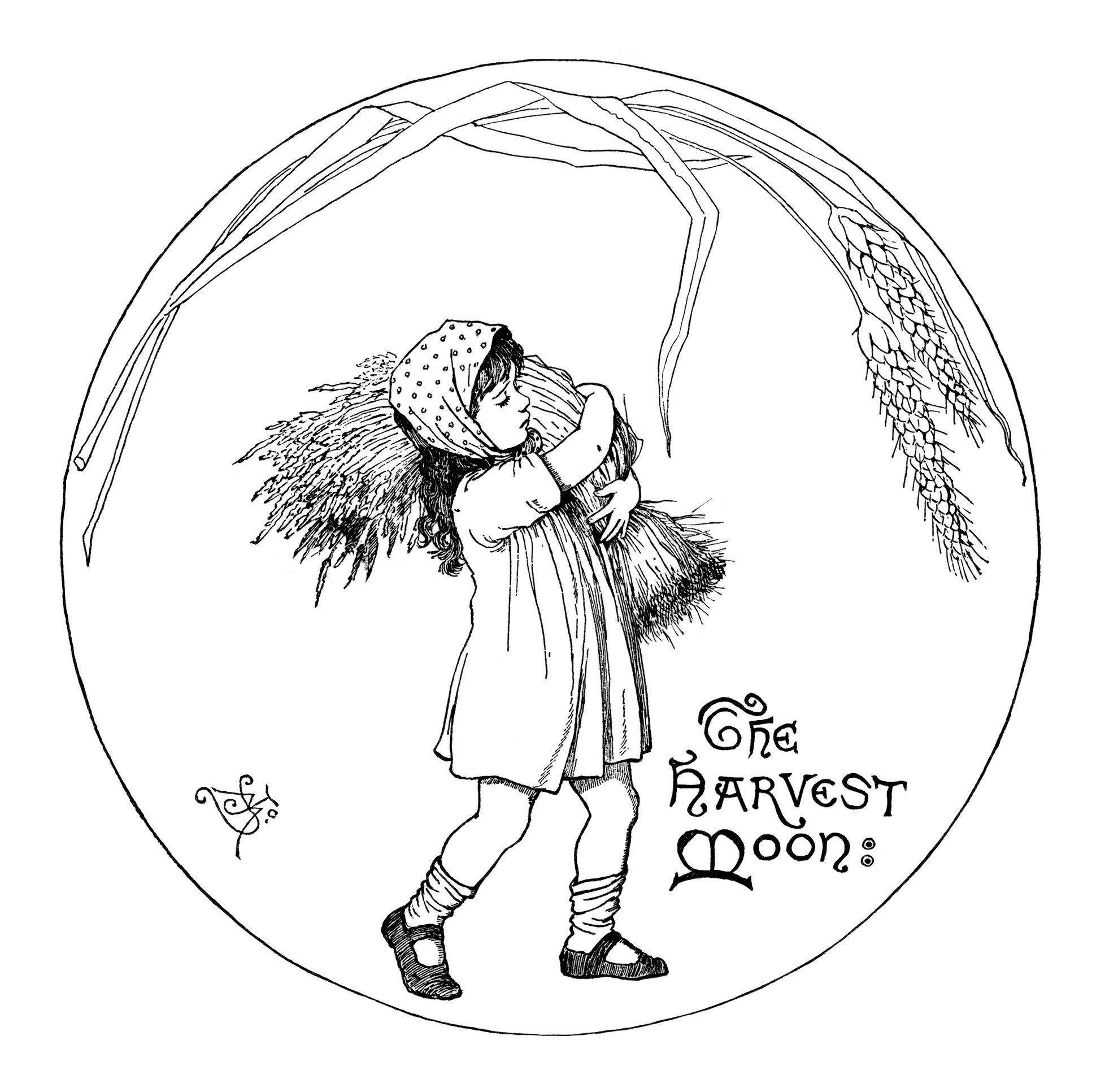 Harvest Moon Illustration Vintage Fall Graphics Black