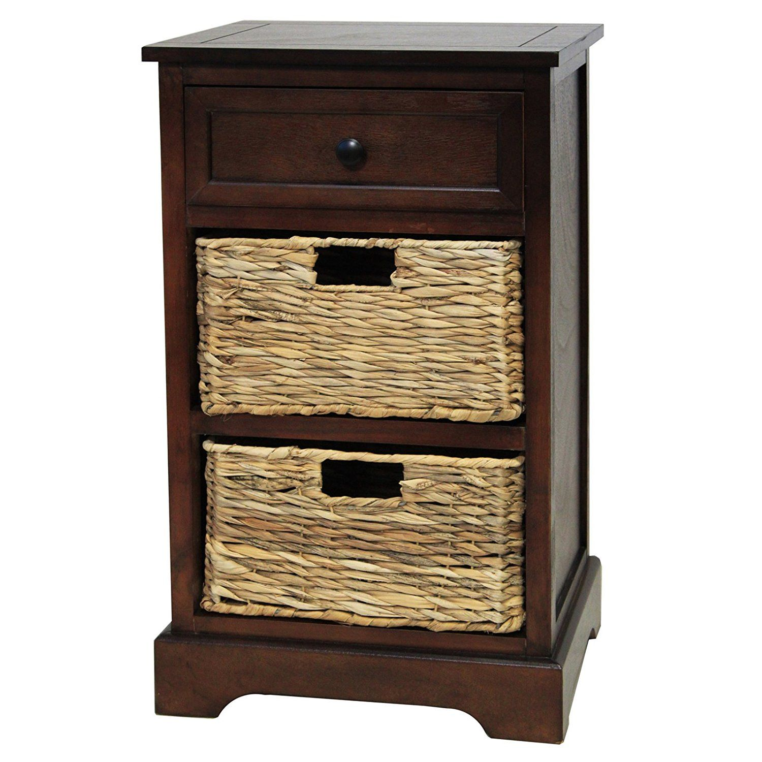 Furnitures Best Coffee Finish Malibu 3 Drawer Wicker Nightstand