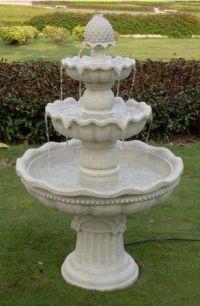Sunnydaze 3 Tier Pineapple Garden Fountain White 51 Inch Tall Water Fountains Outdoor Garden Water Fountains Tiered Garden