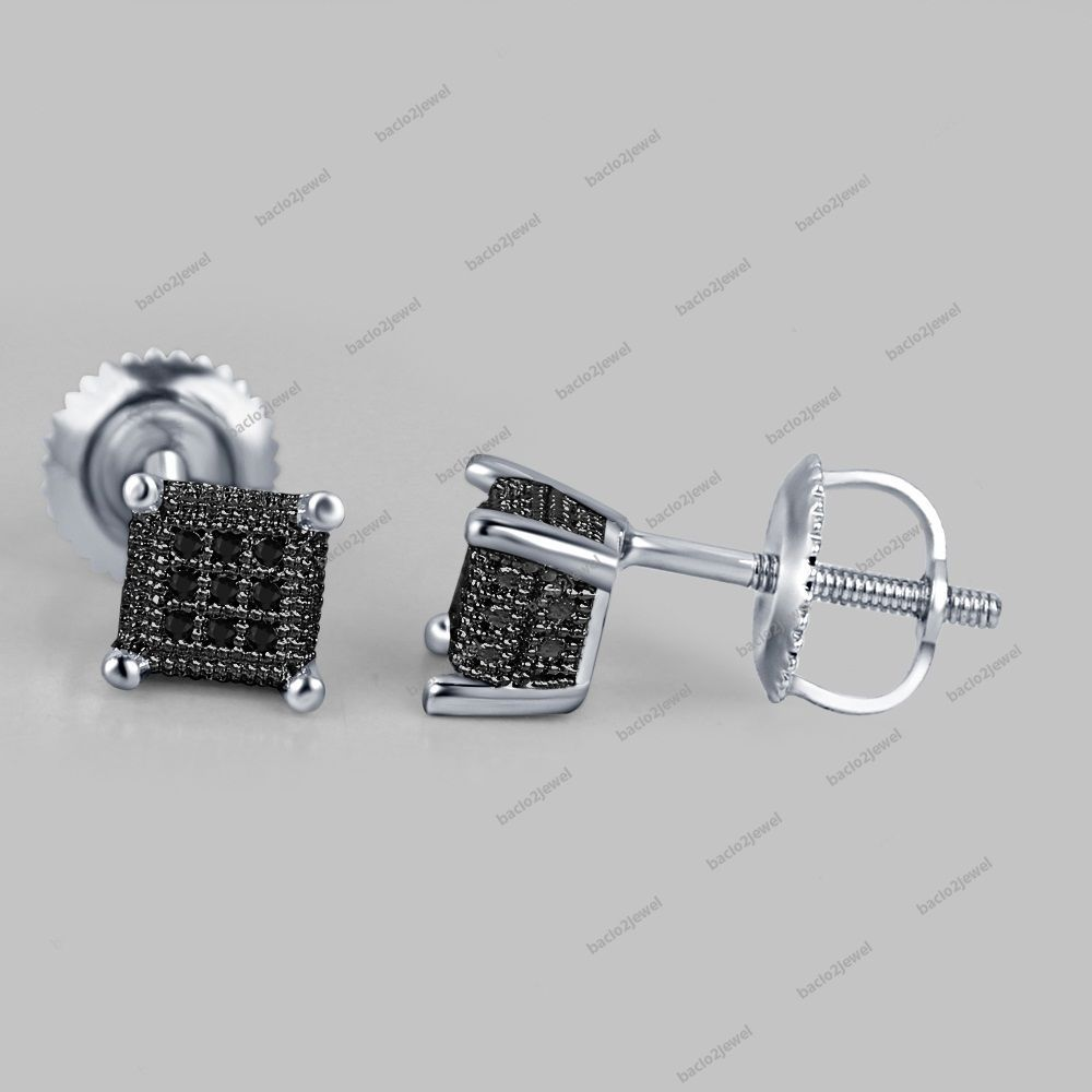 Elegant Design Black Diamond Studs Square Shaped Micro Pave Set Earrings Ladies #Bacio2jewel #StudEarrings