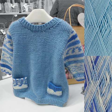 Easy Knit Baby Tunic Knitting Kit in blue with Faux Fair Isle look ...
