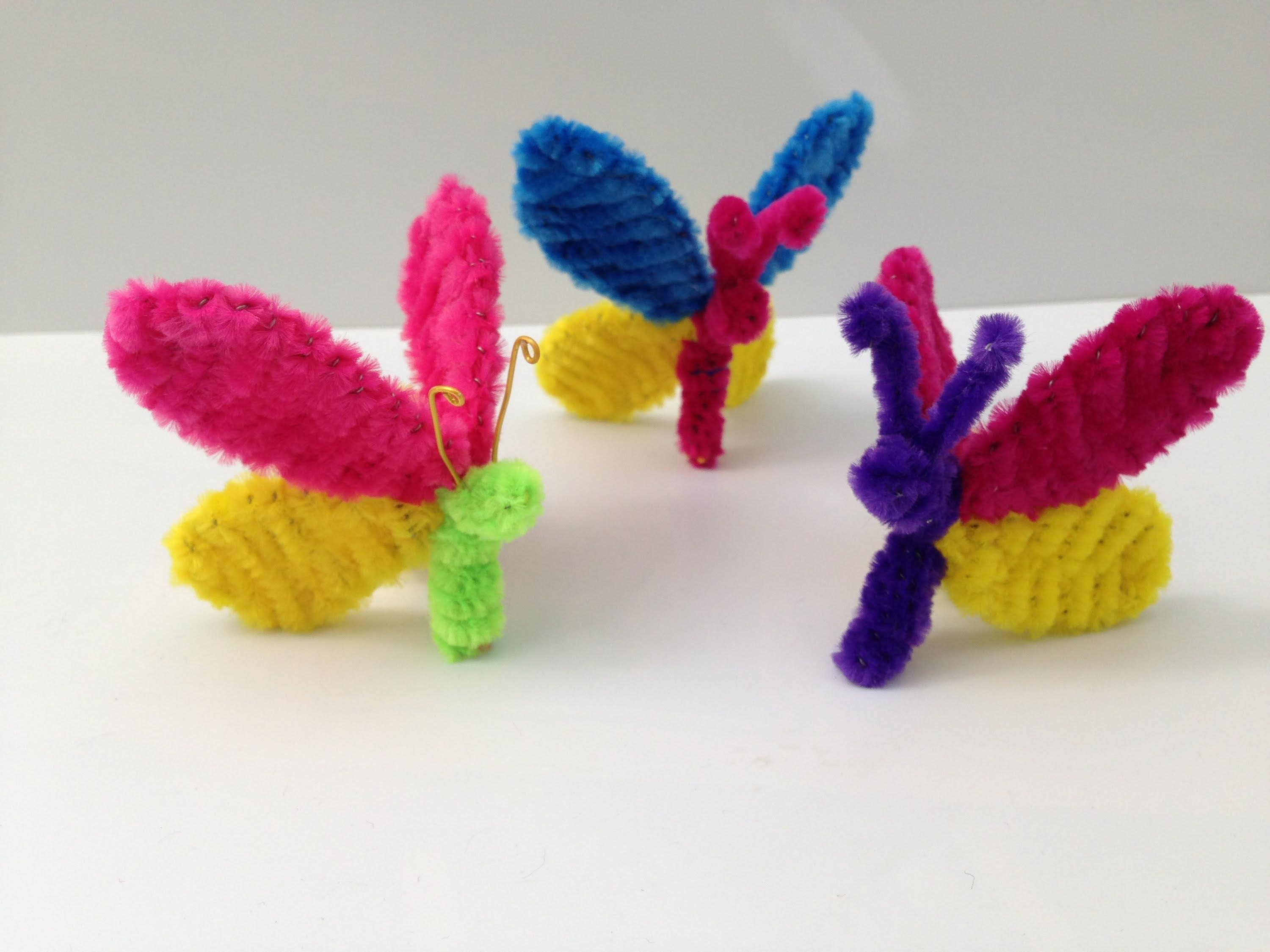 Pipe cleaner butterfly DIY tutorial #4, kids crafts (モール ...