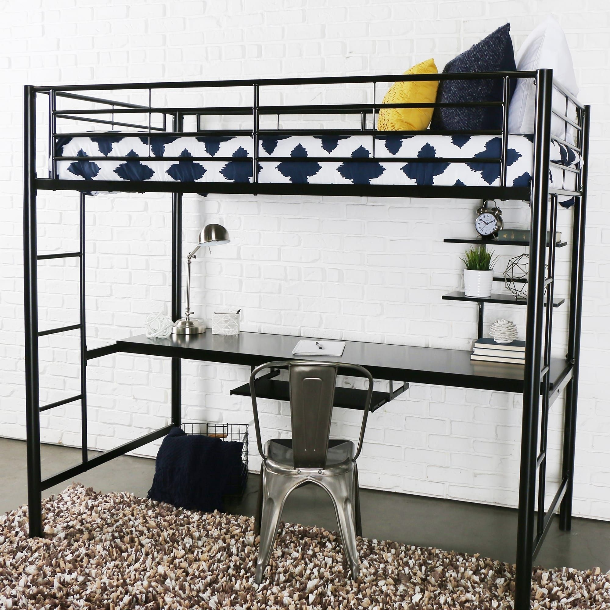 Wooden loft bed with desk  Black Metal Twin Loft Bed with Desk  Products  Pinterest  Black