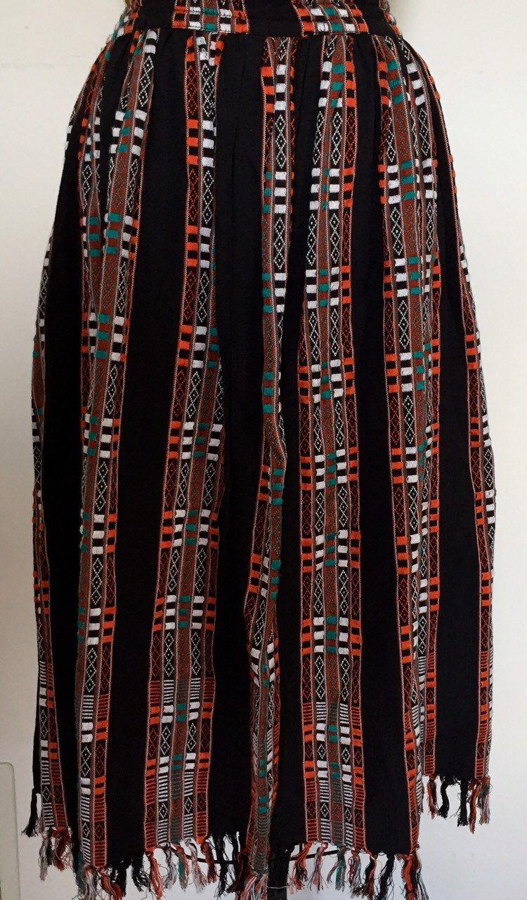 WOVEN INDIAN Skirt Supercraft Vertical Pattern Black Orange Red White Turquoise Size Medium Vintage