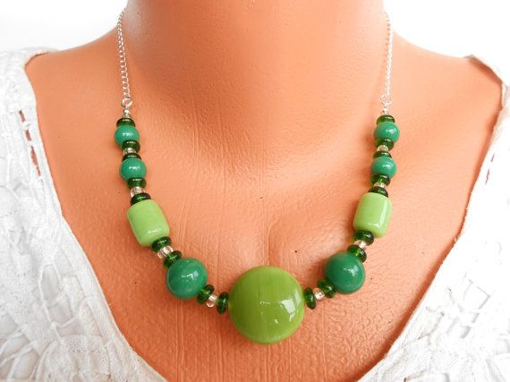 Green Indian Glass Beaded Necklace Shades of Green by ToriaTeeUK
