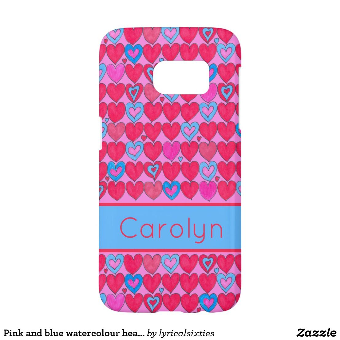 pink and blue watercolour hearts with your name samsung galaxy s7