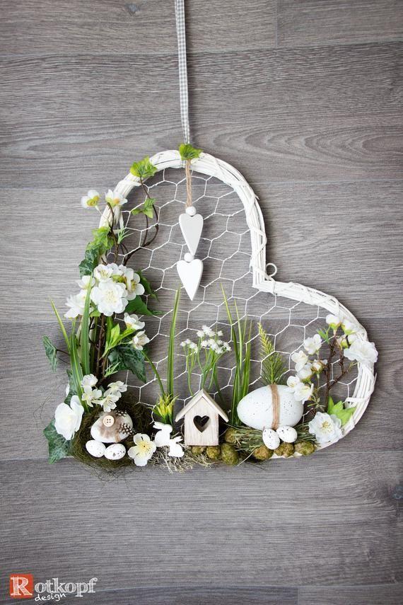 Photo of Door wreath heart shape Door wreath in a different way Easter decoration Spring Easter decor …