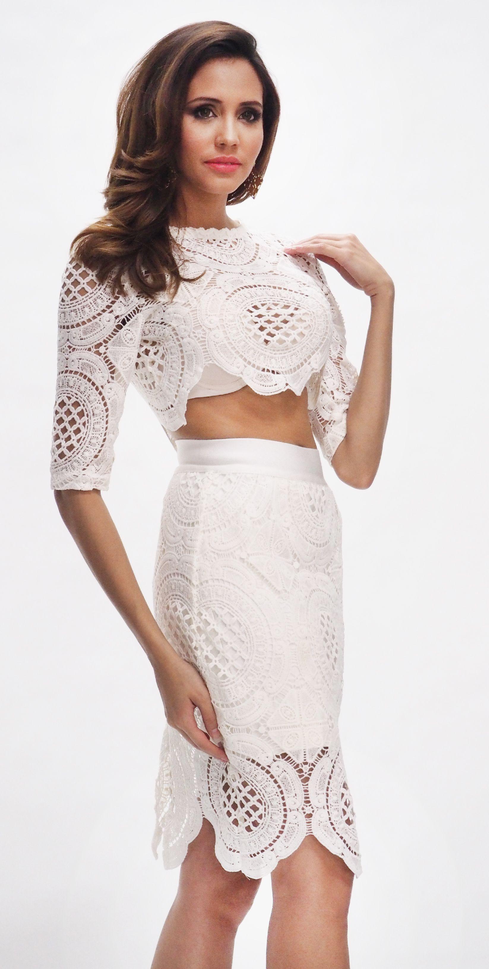 b8d0ecdb2e6 Two piece dress set + Lace + White   MUST OWN!