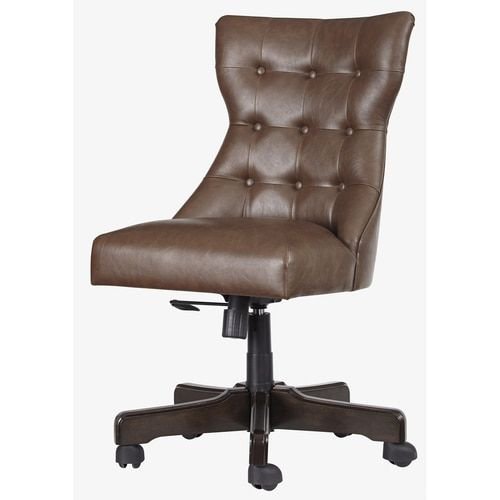 Brown Button Tufted Wood Chair American Home Home Office Desks Ashley Furniture Chairs