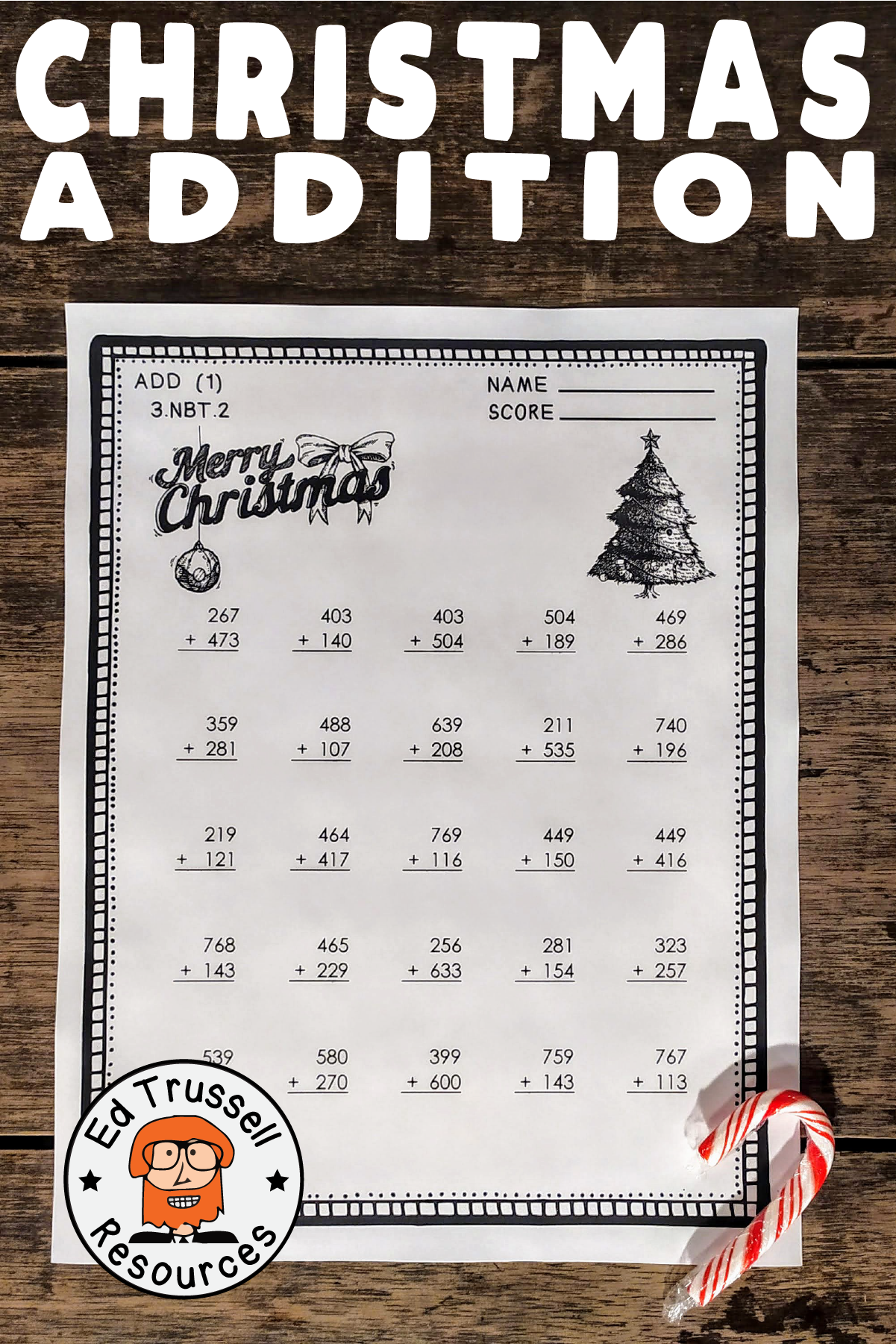 Christmas Three Digit Addition With Regrouping Worksheets