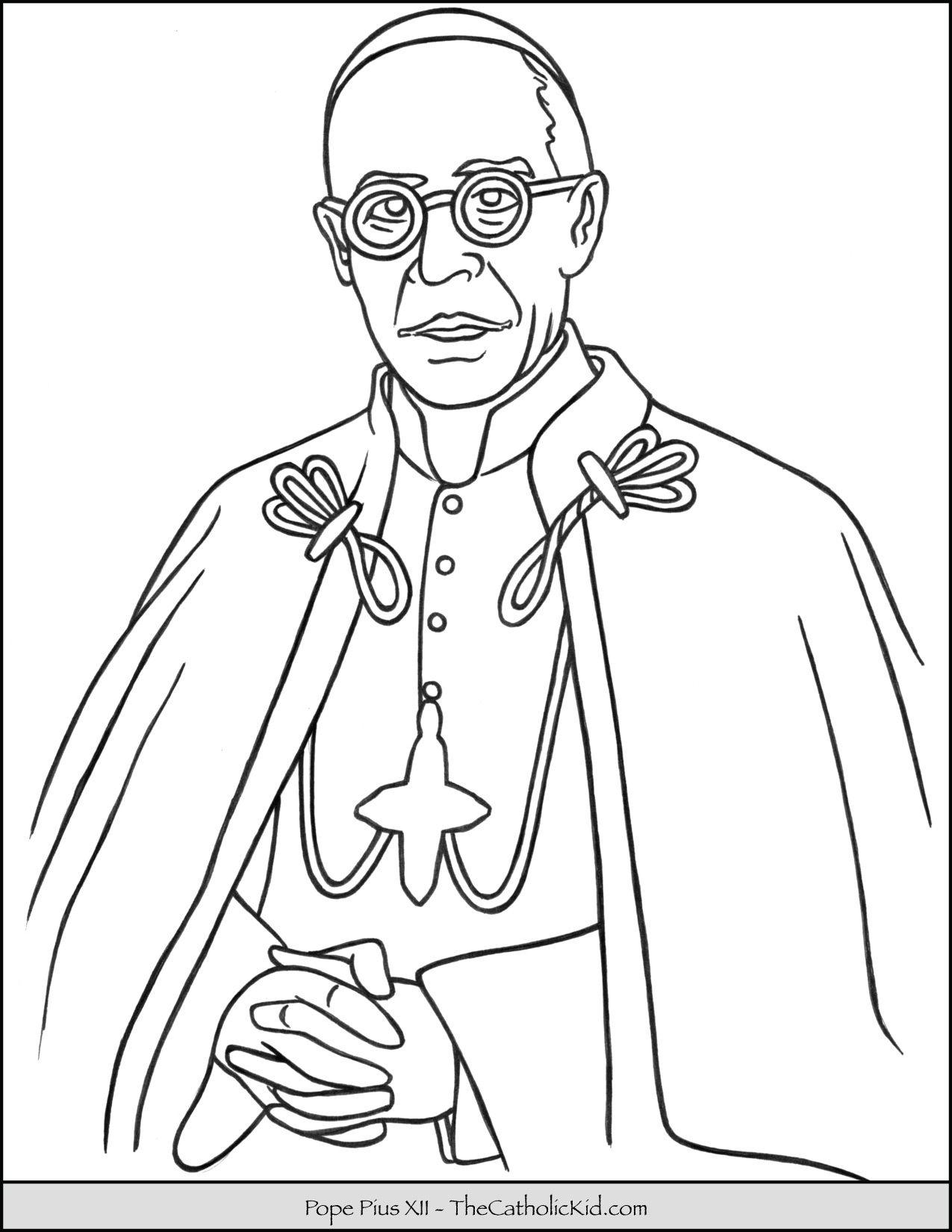 Pope Pius Xii Coloring Page Thecatholickid Com Desenhos
