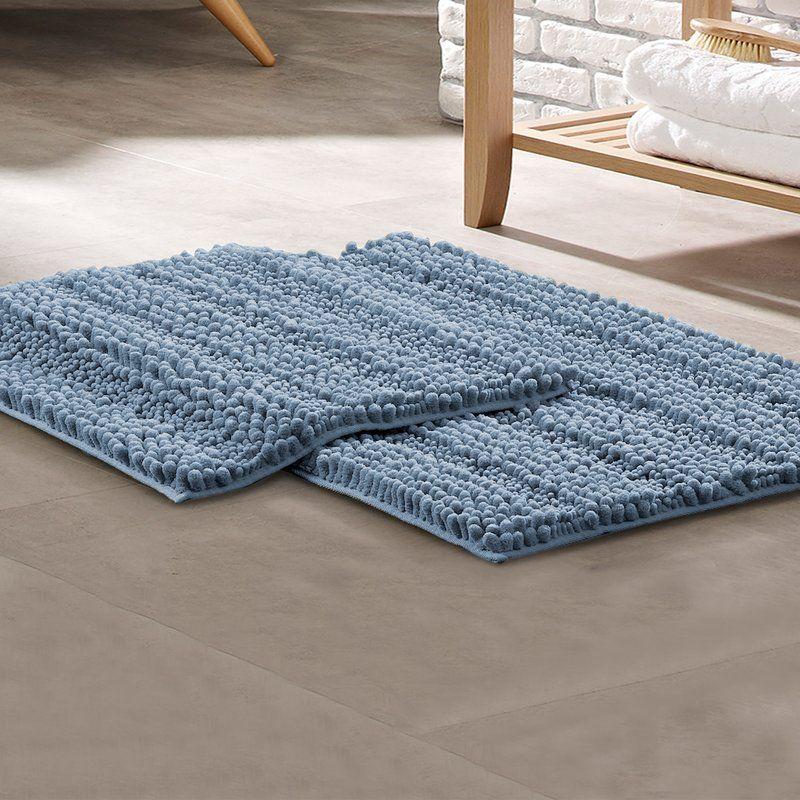Clea Chenille Noodle Non Slip 2 Piece Bath Rug Set Bath Mat Sets