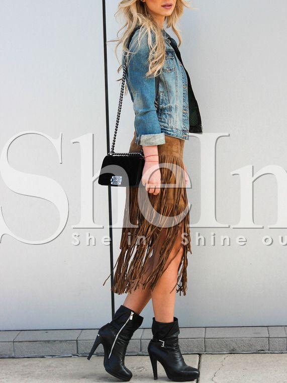 Brown High Waisted Tassel Skirt 14.29
