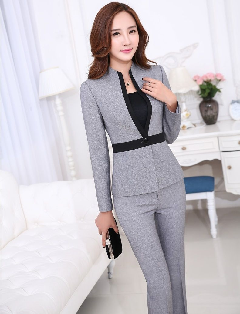 ebe75e865b78f Novelty Grey Ladies Office Work Suits Jackets And Pants Formal Uniform  Design Professional Business Pantsuits Trousers Sets