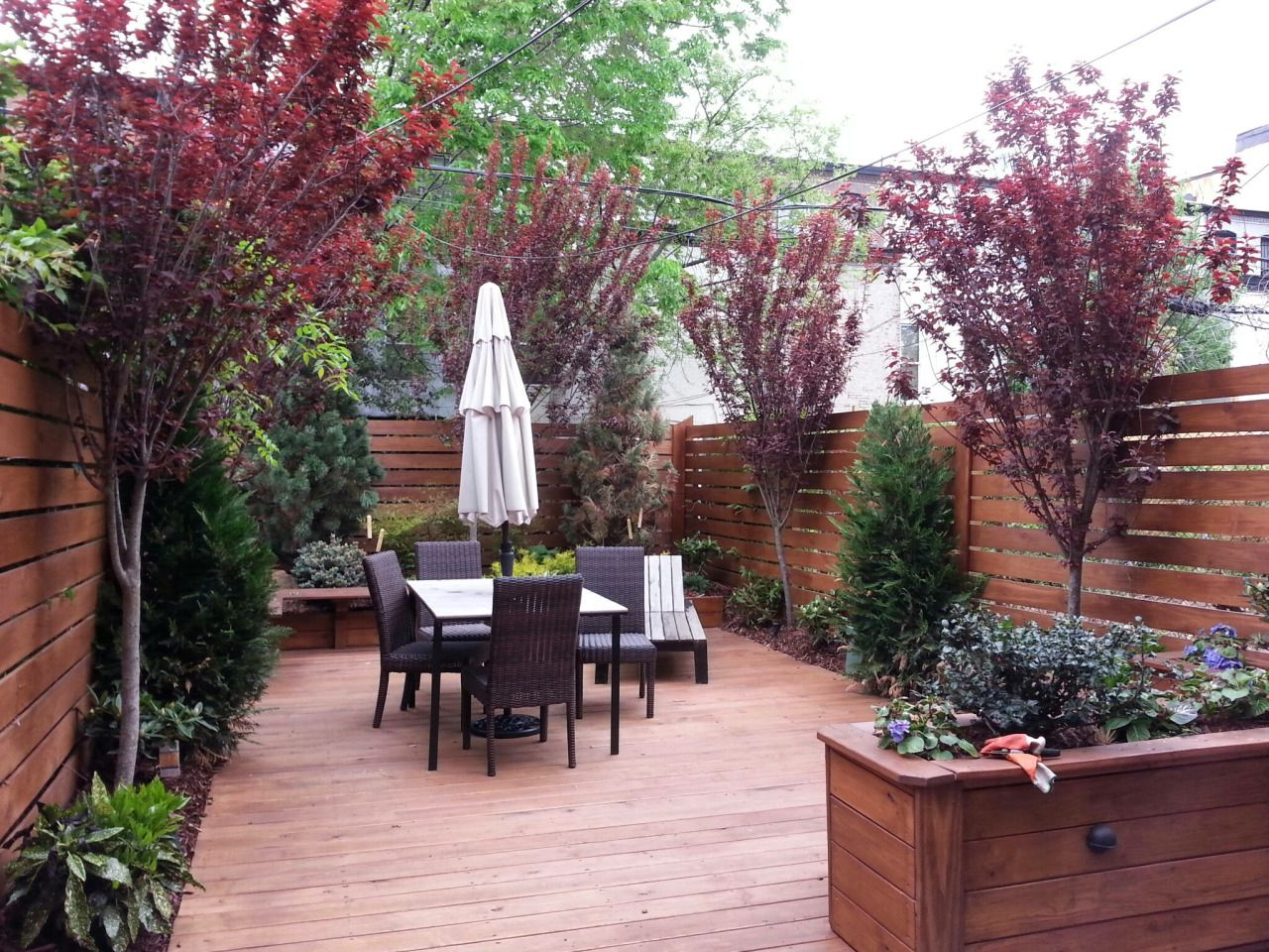 Urban small rear yard landscape design by newyorkplantings for Garden design brooklyn