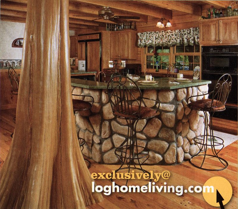 Log Cabin Kitchen Decor: Pictures Of Rustic Columns & Poles Inside Log Homes