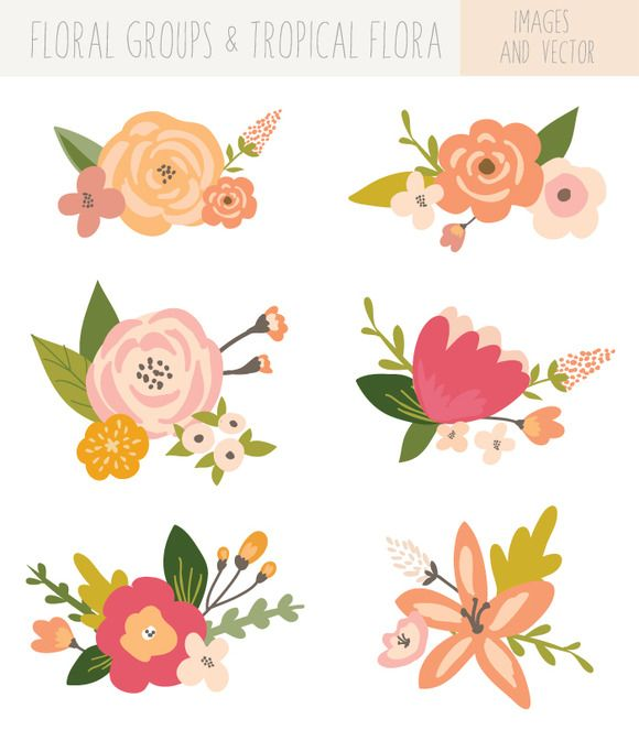 Flower Bunches Clip Art - Tropical | Creative, Awesome and Clip art