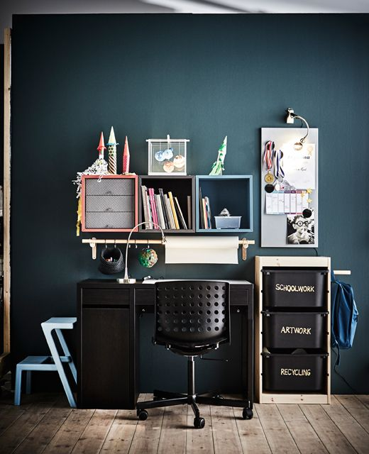 A Child S Workspace With Lots Of Storage In Front Of A Dark Wall Desk Solutions Ikea Desk