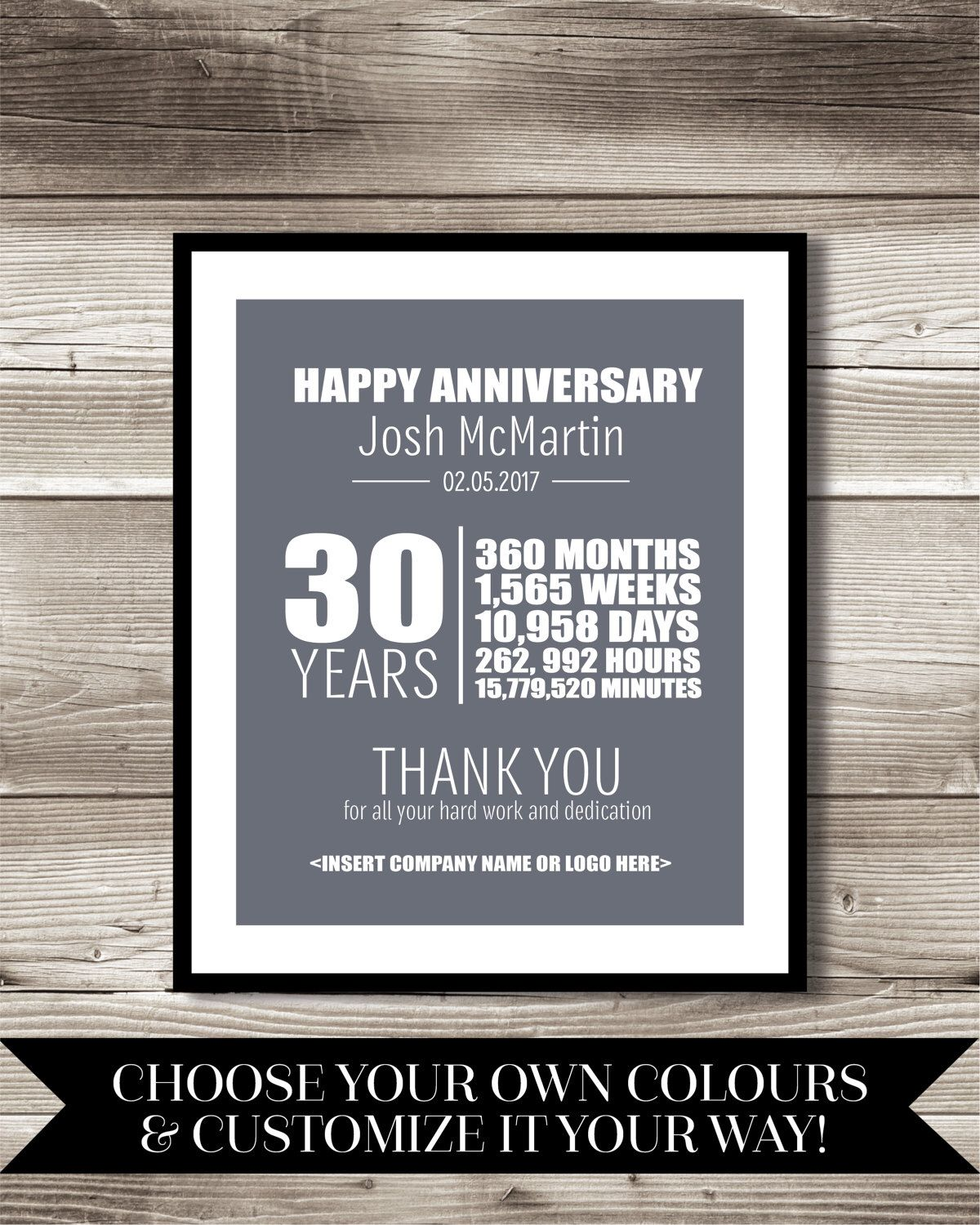 30 Year Work Anniversary Print Gift Digital Print Customizable Thank You Gift Years Of Service Employee Recognition Work Anniversary Work Anniversary Cards Work Anniversary Gifts