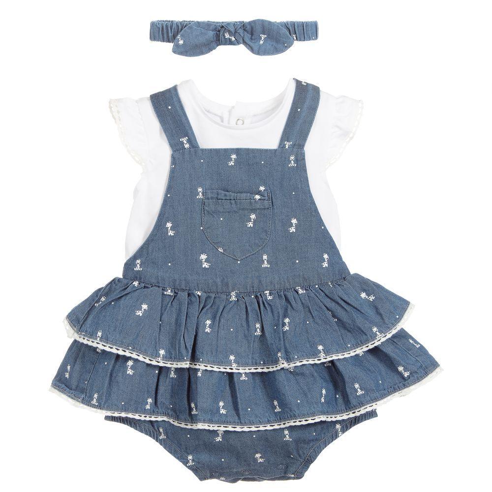 ce300374fe76 Girls Blue Cotton Dress Set | Babyflicka | Cotton dresses, Designer ...