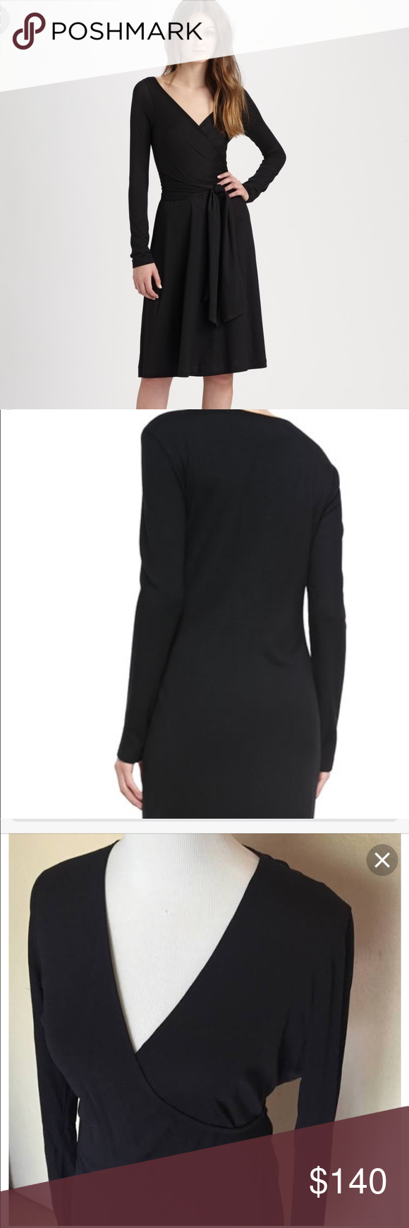 Dkny black wrap dress nwt sexy yet classic lbd nwt wrap dresses