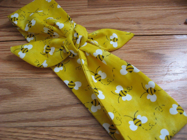 Bee Headband Bandana Hairband Hair Bow Tie Band Yellow Scarf Bumblebee Fabric