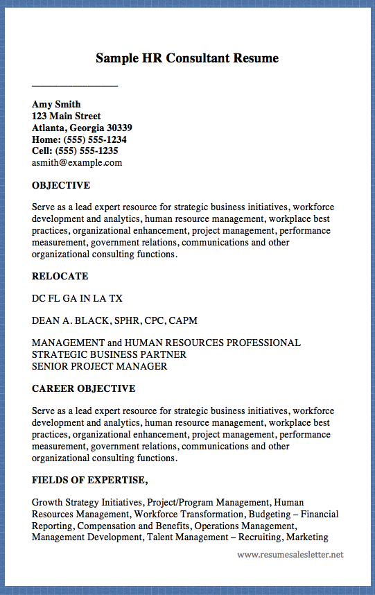 Sample Hr Consultant Resume Amy Smith  Main Street Atlanta