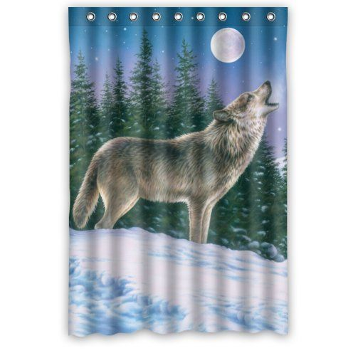 48 X 72 Howling Wolf Waterproof Bathroom Fabric Shower Curtain