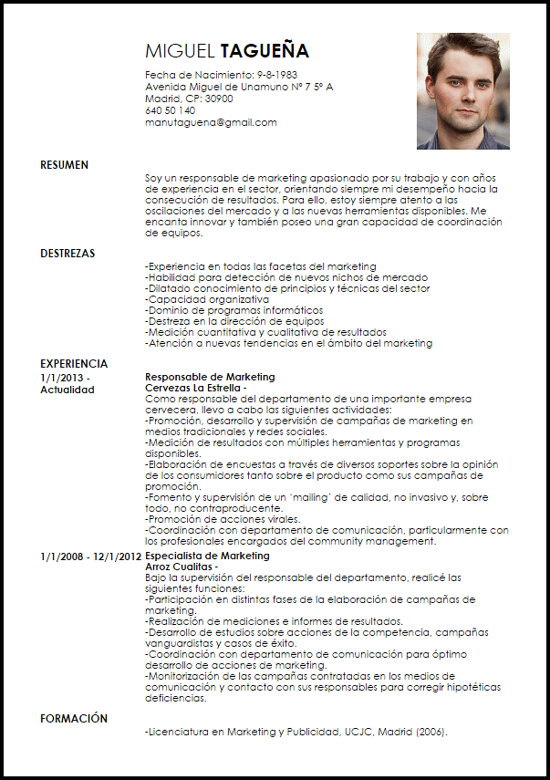 Modelo Curriculum Vitae Responsable De Marketing Cv Pinterest