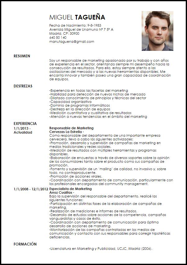 Modelo Curriculum Vitae Responsable De Marketing Curriculum Vitae Curriculum Marketing