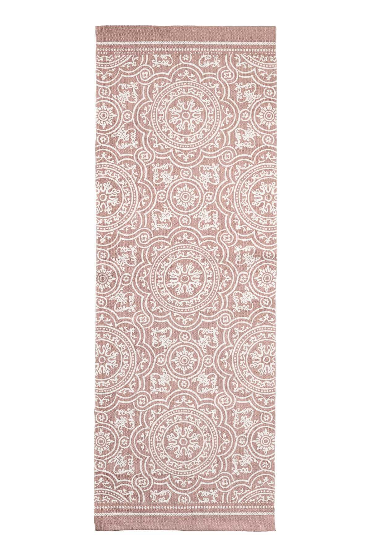 Rectangular Rug In Woven Cotton Fabric With A Printed Pattern