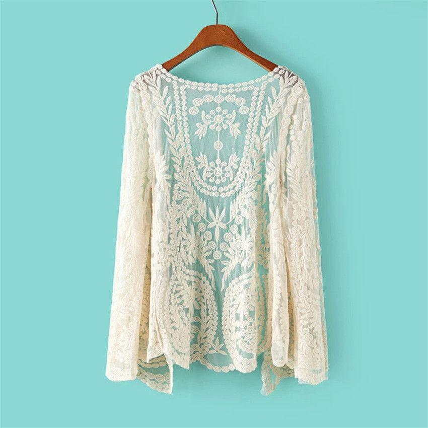 c57ab3fbf Floral blanco de ganchillo Kimono Hippie Crochet Cardigan Boho ...