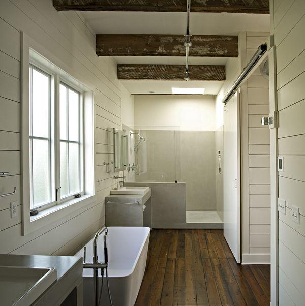 Custom Precast Concrete Shower And Vanity Reclaimed Wood Beams And Floors Chattanooga Tn