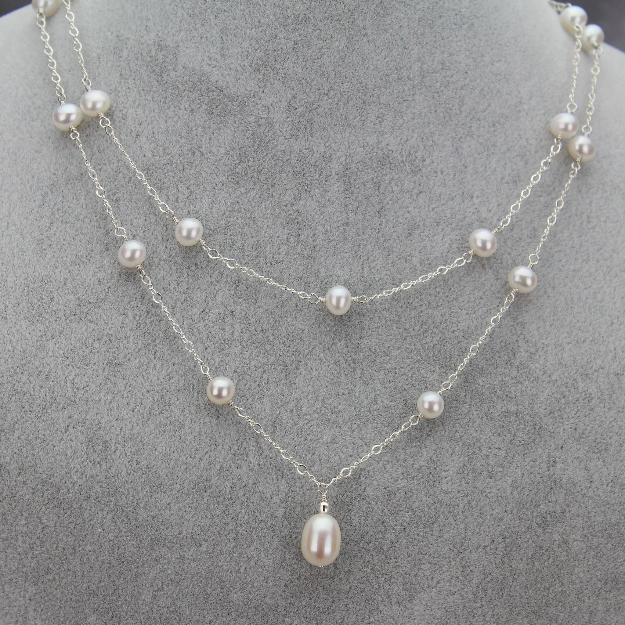 pearl mm pe strand freshwater triple necklace pendant cultured products aa white