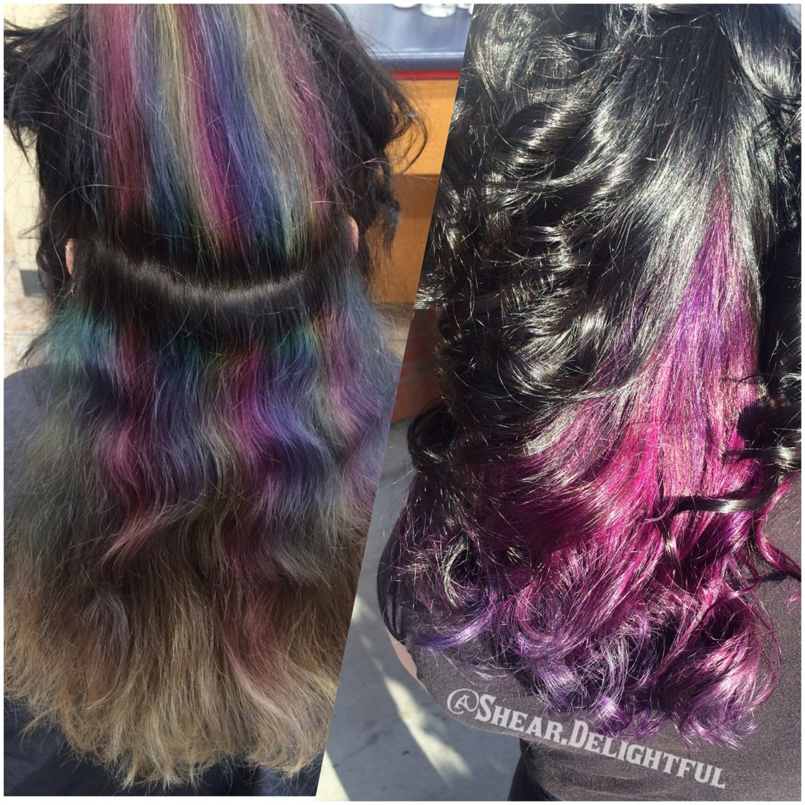 Black Hair With Pink And Purple Under Lights