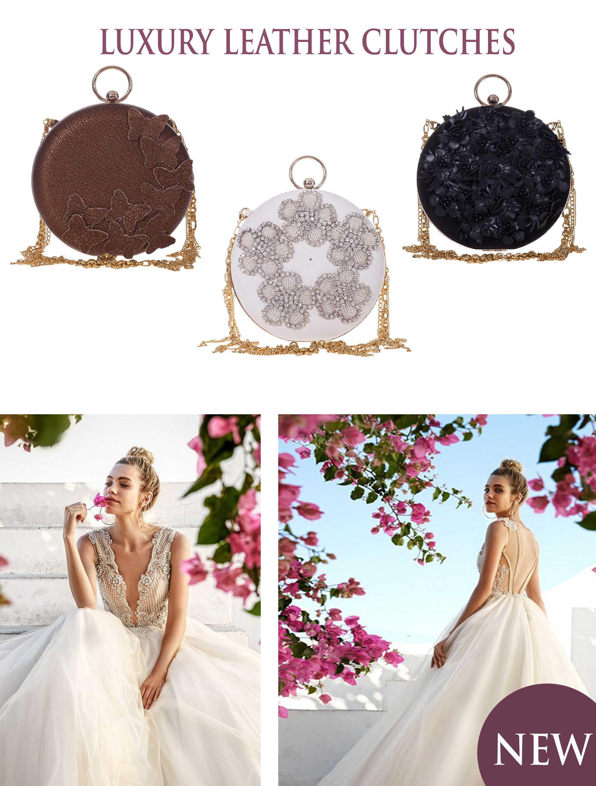 Wild Inga's new collection of elegant leather clutches inspires a certain kind of charm, making you think of dreamy, feminine outfits worn in places where reality meets the fairy tale like beauty of nature. Decorated with butterfly details, black leather flowers or floral silvery shapes, these refined luxury bags are a must have this summer.