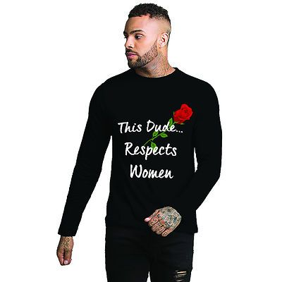 13e1a9d06c This Dude Respects Women Full Sleeves Black Graphic Printed Tshirt ...
