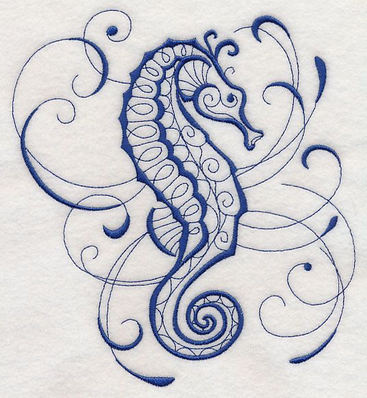 intricate ink sea life seahorse design l2952 from www emblibrary