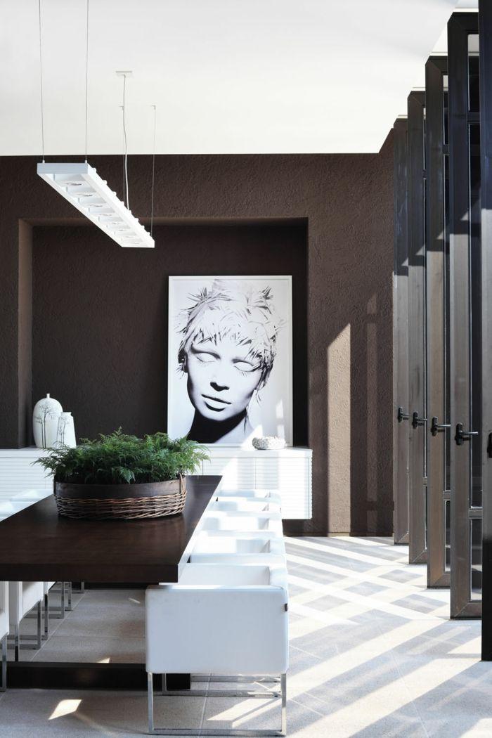 60 überzeugende Beispiele Für Wanddesign In Braun. Wanddesign  Wandgestaltung Wandfarbe Farbgestaltung Weisse Skulptur