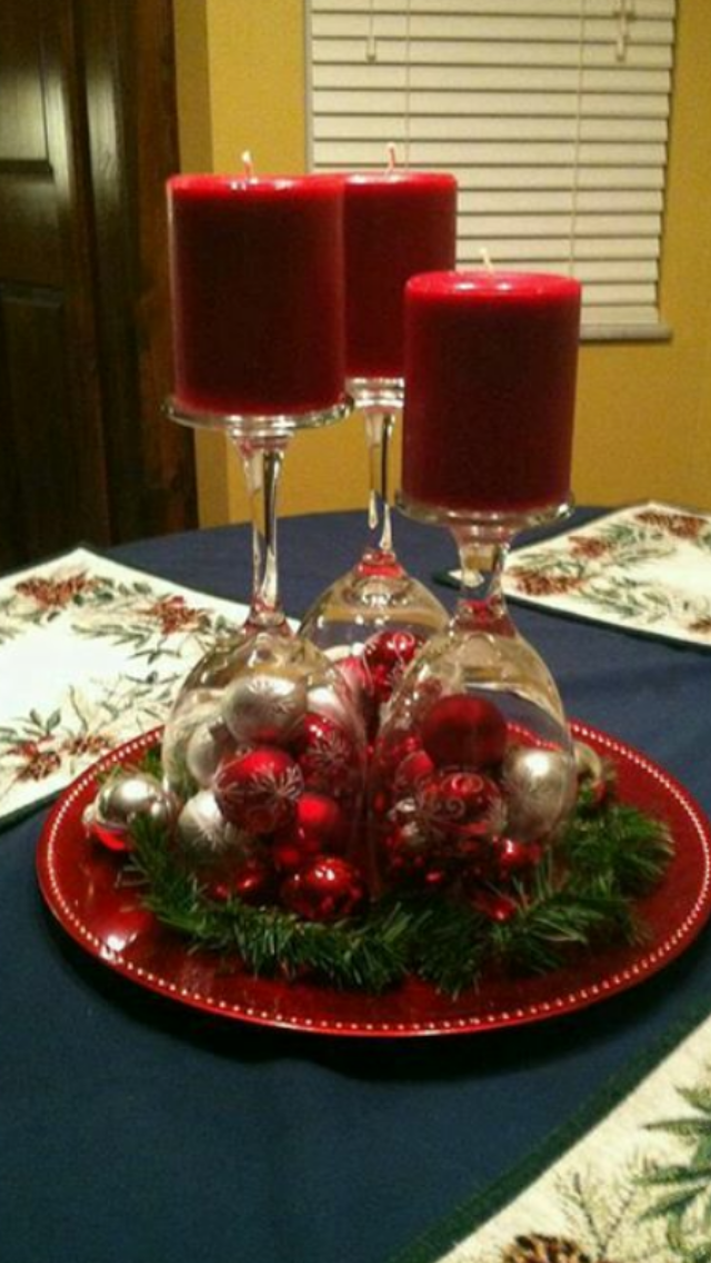 Inverted Wine Glasses As Candlesticks For 2016 New Years Table Centerpiece    Table Decor, Silver Baubles