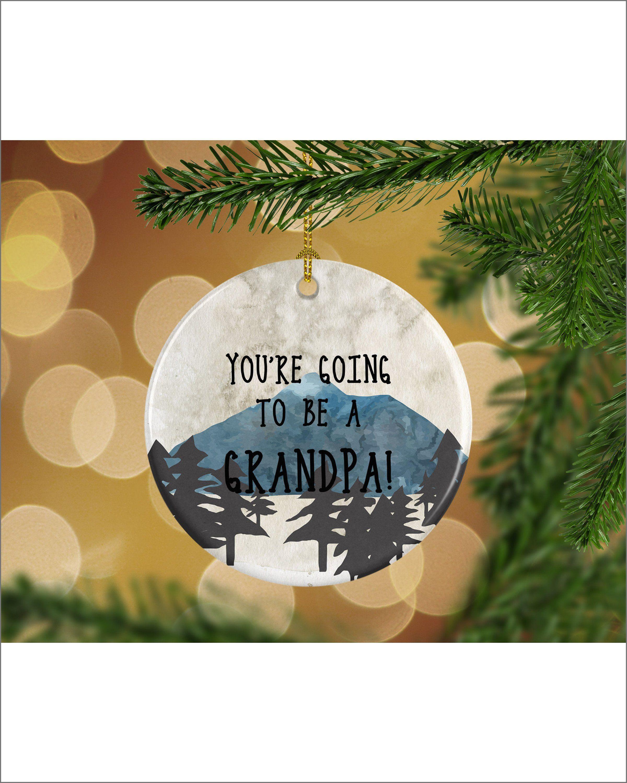 Mountains Pregnancy Announcement Grandpa Keepsake Christmas Ornament ...
