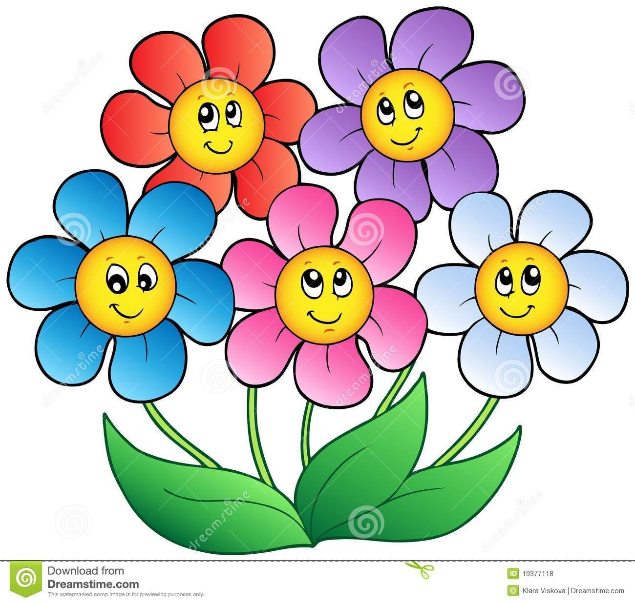 Pictures of flowers cartoon flowers pinterest cartoon and five cartoon flowers stock photo stock image clipart vector dhlflorist Image collections