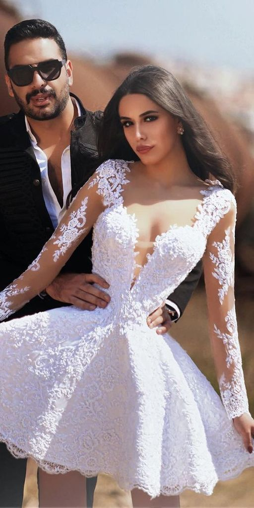 Short wedding dresses for women lace appliqué long sleeve elegant cheap bridal dress vestido de noiva