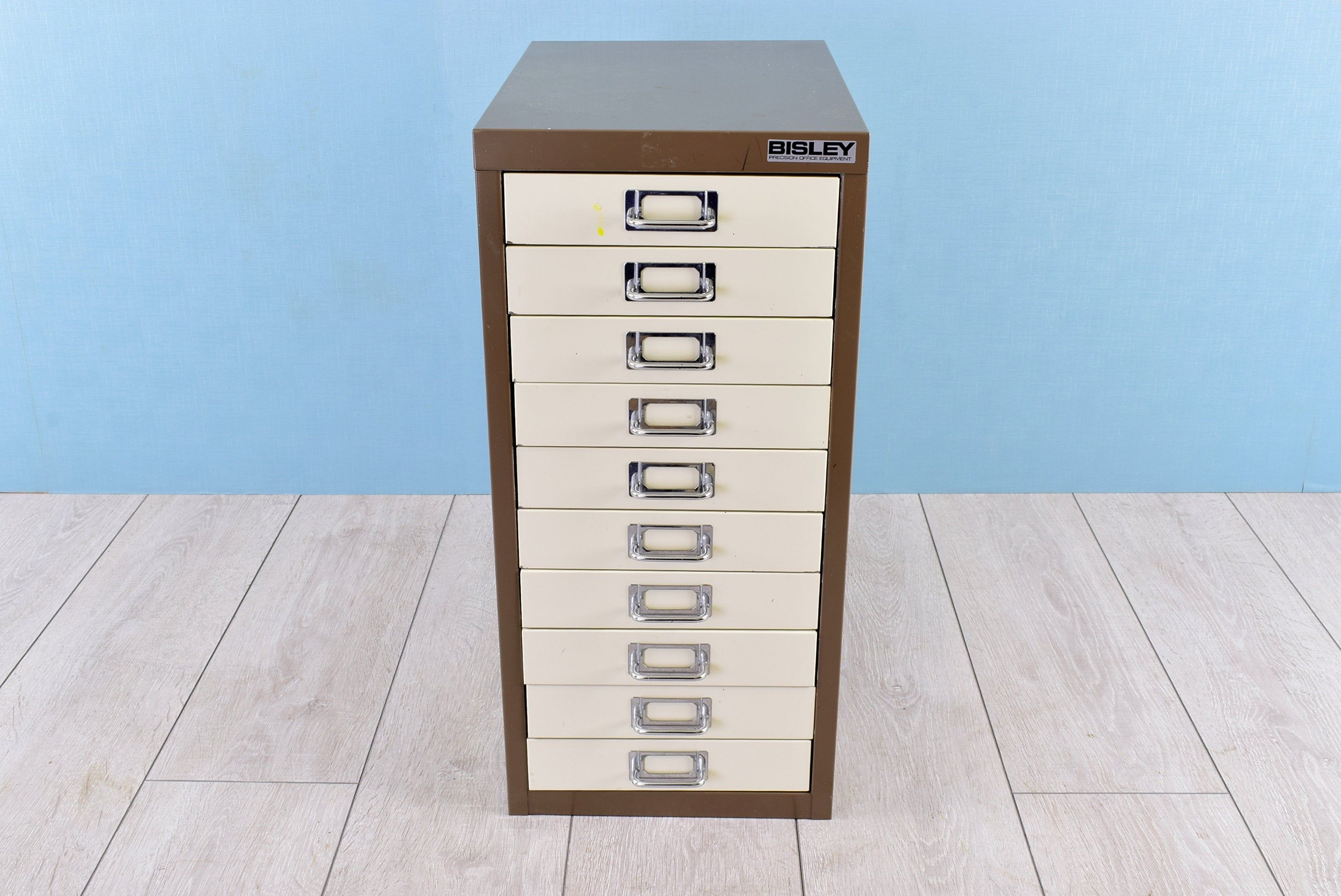Retro Bisley Filing Cabinet Metal Desktop Organizer Tiered Office Box With 10 Drawers Vintage Industrial Home Desk Accessory Uk 1970s Filing Cabinet Desktop Organization Desk Accessories